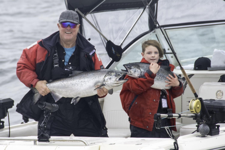 Fishing, salmon fishing, children fishing, salmon fishing